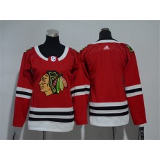 Chicago Blackhawks Blank Red Women Adidas Jersey