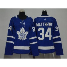 Toronto Maple Leafs #34 Auston Matthews Blue Women Adidas Jersey