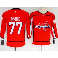 Washington Capitals #77 T.J. Oshie Red Women Adidas Jersey