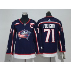 Columbus Blue Jackets #71 Nick Foligno Navy Youth Adidas Jersey