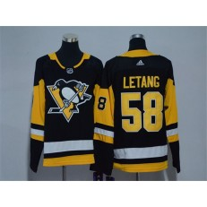 Pittsburgh Penguins #58 Kris Letang Black Youth Adidas Jersey