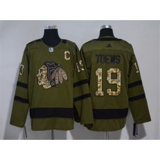 Chicago Blackhawks #19 Jonathan Toews Olive Adidas Jersey