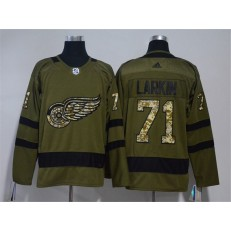 Detroit Red Wings #71 Dylan Larkin Olive Green Adidas Jersey