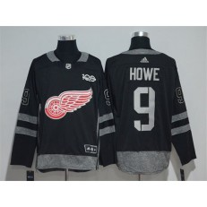 Detroit Red Wings #9 Gordie Howe Black 1917-2017 100th Anniversary Adidas Jersey