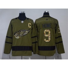 Detroit Red Wings #9 Gordie Howe Olive Green Adidas Jersey