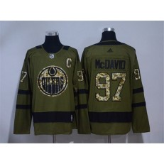 Edmonton Oilers #97 Connor McDavid Olive Green Adidas Jersey