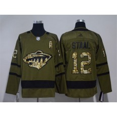 Minnesota Wild #12 Eric Staal Olive Green Adidas Jersey