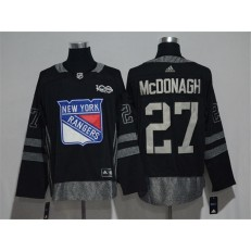 New York Rangers #27 Ryan McDonagh Black 1917-2017 100th Anniversary Adidas Jersey