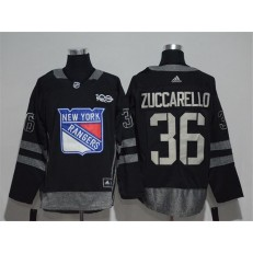 New York Rangers #36 Mats Zuccarello Black 1917-2017 100th Anniversary Adidas Jersey