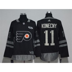 Philadelphia Flyers #11 Travis Konecny Black 1917-2017 100th Anniversary Adidas Jersey