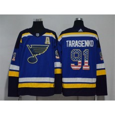 St.Louis Blues #91 Vladimir Tarasenko Blue USA Flag Adidas Jersey