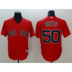 MLB Boston Red Sox 50 Mookie Betts Red Cool Base Men Jersey