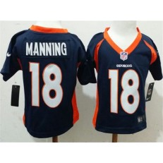 Nike Denver Broncos 18 Peyton Manning Blue Toddler Game Jersey
