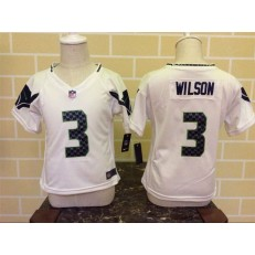 Nike Seattle Seahawks 3 Russell Wilson White Toddler Game Jersey