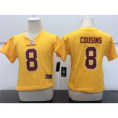 Nike Washington Redskins 8 Kirk Cousins Yellow Toddler Game Jersey