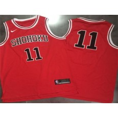 Shohoku Away 11 Rukawa Kaede Cosplay Red Nike Swingman Men Jersey