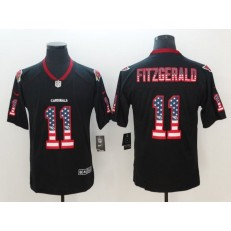 Arizona Cardinals 11 Larry Fitzgerald Black USA Flag Fashion Color Rush Limited Nike NFL Men Jersey