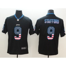 Detroit Lions 9 Matthew Stafford Black USA Flag Fashion Color Rush Limited Nike NFL Men Jersey