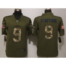 Detroit Lions 9 Matthew Stafford Olive Camo Salute To Service Limited Nike NFL Men Jersey