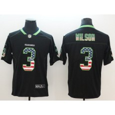 Seattle Seahawks 3 Russell Wilson Black USA Flag Fashion Color Rush Limited Nike NFL Men Jersey