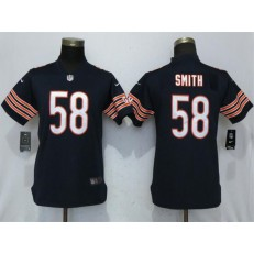 Women Nike Chicago Bears 58 Roquan Smith Navy Vapor Untouchable Limited NFL Jersey