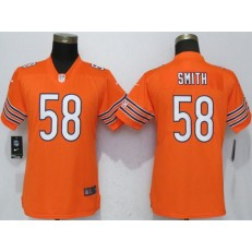 Women Nike Chicago Bears 58 Roquan Smith Orange Vapor Untouchable Limited NFL Jersey