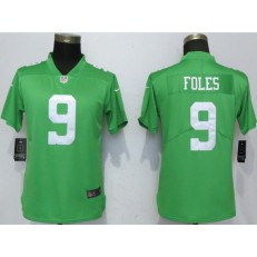 Women Nike Philadelphia Eagles 9 Nick Foles Green Throwback Vapor Untouchable Limited NFL Jersey