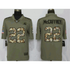 Carolina Panthers 22 Christian McCaffrey Olive Camo Salute To Service Limited Nike NFL Men Jersey