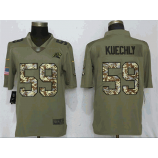 Carolina Panthers 59 Luke Kuechly Olive Camo Salute To Service Limited Nike NFL Men Jersey