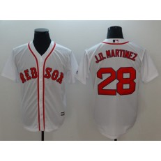 MLB Boston Red Sox 28 J.D. Martinez White Cool Base Men Jersey