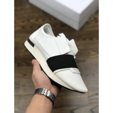 BALENCIAGA RACE RUNNER LOW-TOP SNEAKERS WHITE BLACK 483492 WOYXI 9061