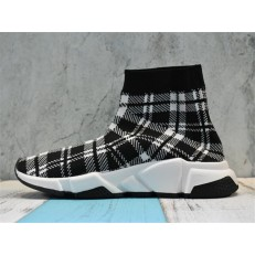 BALENCIAGA SPEED STRETCH-KNIT MID SNEAKERS GRID WHITE BLACK 477289W05G04