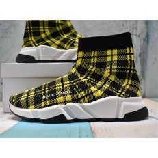 BALENCIAGA SPEED STRETCH-KNIT MID SNEAKERS GRID YELLOW BLACK 477289W05G07