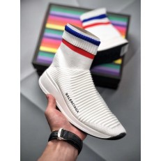 BALENCIAGA SPEED STRETCH-KNIT MID SNEAKERS WHITE BLUE RED 433214 WOXH 8681