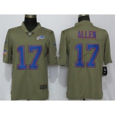 Buffalo Bills 17 Josh Allen Olive Salute To Service Limited Nike NFL Men Jersey