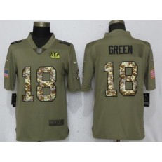 Cincinnati Bengals 18 A.J. Green Olive Camo Salute To Service Limited Nike NFL Men Jersey