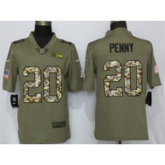 Seattle Seahawks 20 Rashaad Penny Olive Camo Salute To Service Limited Nike NFL Men Jersey