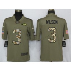 Seattle Seahawks 3 Russell Wilson Olive Camo Salute To Service Limited Nike NFL Men Jersey