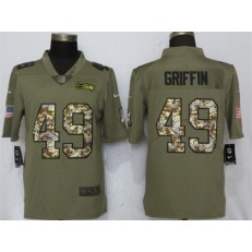Seattle Seahawks 49 Shaquill Griffin Olive Camo Salute To Service Limited Nike NFL Men Jersey