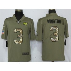 Tampa Bay Buccaneers 3 Jameis Winston Olive Camo Salute To Service Limited Nike NFL Men Jersey