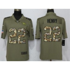 Tennessee Titans 22 Derrick Henry Olive Camo Salute To Service Limited Nike NFL Men Jersey
