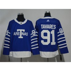 Toronto Maple Leafs 91 John Tavares Blue 1918 Arenas Throwback Adidas NHL Men Jersey