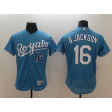 MLB Kansas City Royals 16 Bo Jackson Light Blue Flexbase Men Jersey