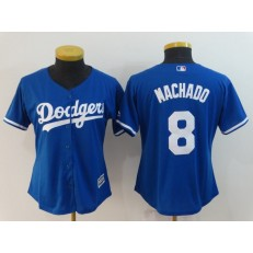 MLB Los Angeles Dodgers 8 Manny Machado Royal Cool Base Women Jersey