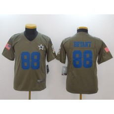 Youth Nike Dallas Cowboys #88 Dez Bryant Olive Salute To Service Limited NFL Jersey