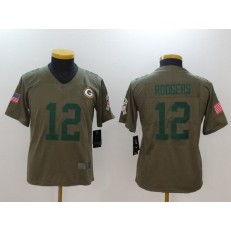 Youth Nike Green Bay Packers #12 Aaron Rodgers Olive Salute To Service Limited NFL Jersey