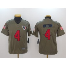 Youth Nike Houston Texans #4 Deshaun Watson Olive Salute To Service Limited NFL Jersey