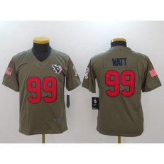 Youth Nike Houston Texans #99 J.J. Watt Olive Salute To Service Limited NFL Jersey