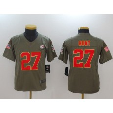 Youth Nike Kansas City Chiefs #27 Kareem Hunt Olive Salute To Service Limited NFL Jersey