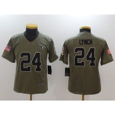 Youth Nike Oakland Raiders #24 Marshawn Lynch Olive Salute To Service Limited NFL Jersey